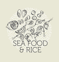 Concept hand drawn sea food elements vector