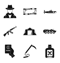 Delinquent icons set simple style vector