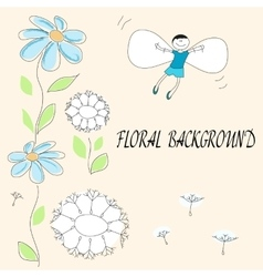 drawing of flowers and flying baby vector image vector image