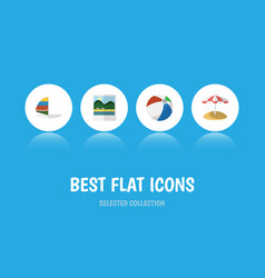 flat icon season set of sphere parasol surfing vector image vector image
