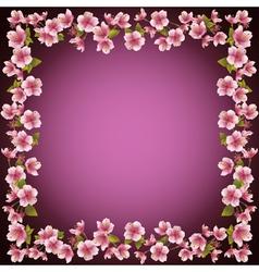 Floral frame sakura blossom background vector image vector image