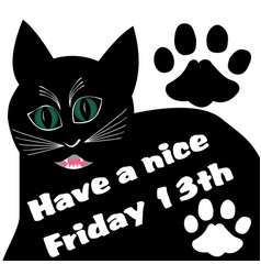 Friday 13th with thick black angry cat and two cat vector