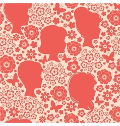 Girls silhouettes among flowers seamless pattern vector image