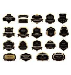Golden and black vintage labels set vector image vector image