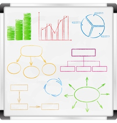 graphs and diagrams on whiteboard vector image vector image