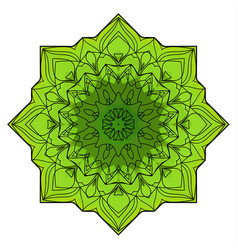 green eight-pointed mandala vector image vector image