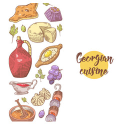 Hand drawn georgian food menu georgia cuisine vector