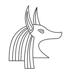 Head of egyptian god anubis icon outline style vector