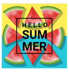 Hello summer background with watermelon 1 vector