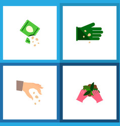 Icon flat seed set of seed sow hand vector