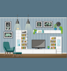 Interior equipment of a modern living room vector