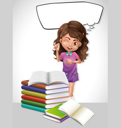 Little girl and book with speech bubble template vector
