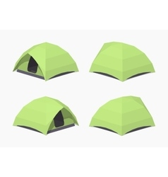 Low poly green camping tent vector image