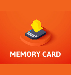 Memory card isometric icon isolated on color vector
