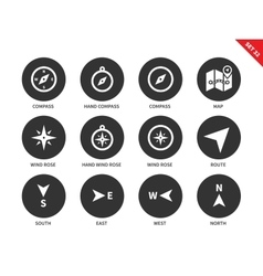 Navigation equipment icons on white background vector image vector image