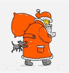 Santa klaus and dog vector