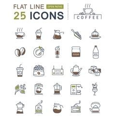 Set Flat Line Icons Coffee vector image vector image