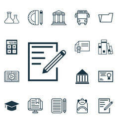 set of 16 education icons includes e-study vector image vector image