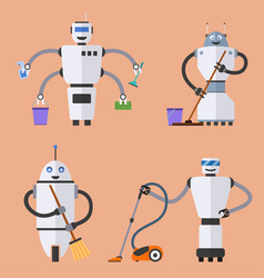 Set of robot cleaners vector