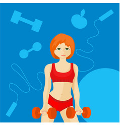 Sports redhead girl vector