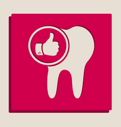 Tooth sign with thumbs up symbol vector