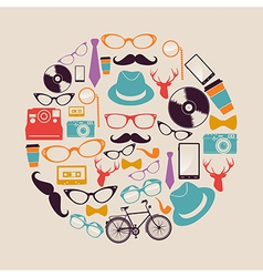 Vintage hipsters icons circle vector