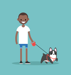 Young smiling black man walking the dog flat vector