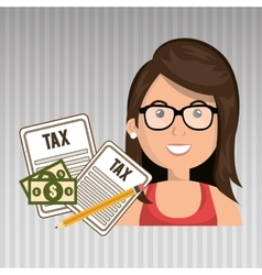 Woman taxes bills pencil vector