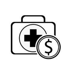 First aid kit and coin icon vector