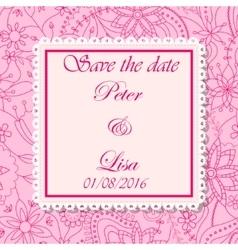 Wedding invitation flowers background pink vector image