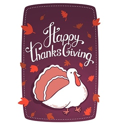 Thanksgiving with turkey bird and text happy vector