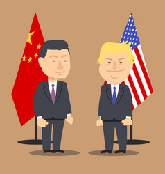 Xi jinping and donald trump standing together with vector