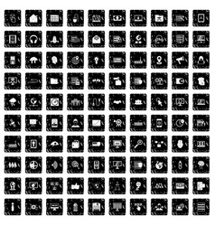 100 cyber security icons set grunge style vector