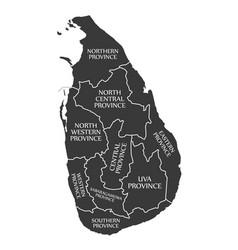Sri lanka map labelled black vector