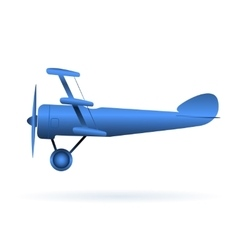 Blue toy airplane over white vector