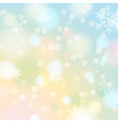 Bright shine background with bokeh and snowflakes vector