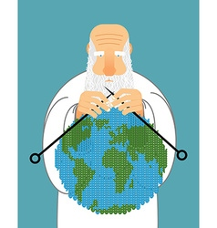 God making earth knitting world establishment of vector