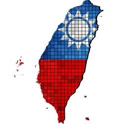 Taiwan map with flag inside vector