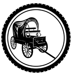Badge with an old van vector