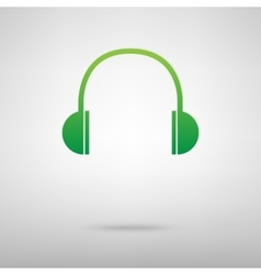 Headphones green icon vector
