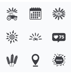 Tractor icons agricultural industry transport vector