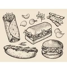 fast food hand drawn cheeseburger burritos ham vector image