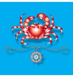 Crab and nautical design elements vector