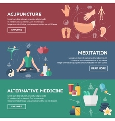 Acupuncture banner set vector