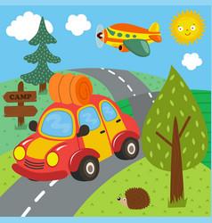 Car trip for outdoor recreation vector