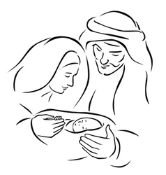 Christmas nativity scene with holy family - baby vector