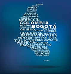 Colombia map made with name of cities vector image