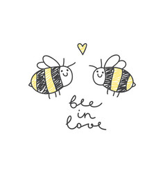 Cute bees couple vector