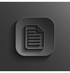 Document icon - black app button vector image vector image
