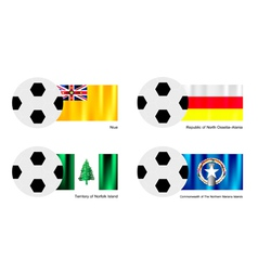 Football with niue ossetia alania norfolk flag vector